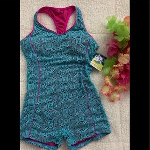 BNWT- Lacey pink-teal swimsuit/ $28.